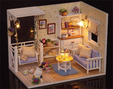Collection Here Doll House Cute Room L-023 Blue Time Diy House With Furniture Music Light Cover Miniature Model Gift Decor Toys For Childern Doll Houses Dolls & Stuffed Toys